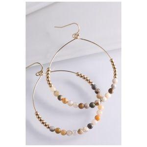 Natural Stone Hoop Earrings